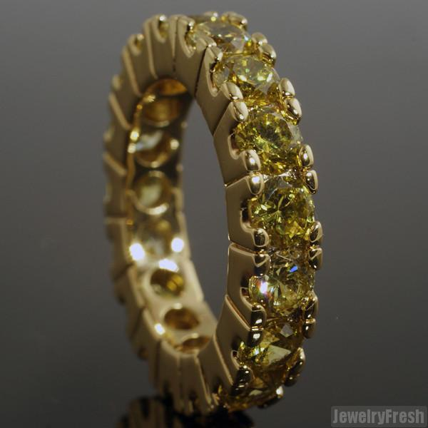 Gold Finish Canary Big Rocks Prong Set CZ Eternity Ring