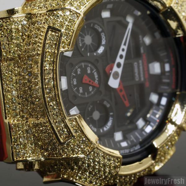 Red and Yellow Iced Out Bezel Casio G-Shock GA-100