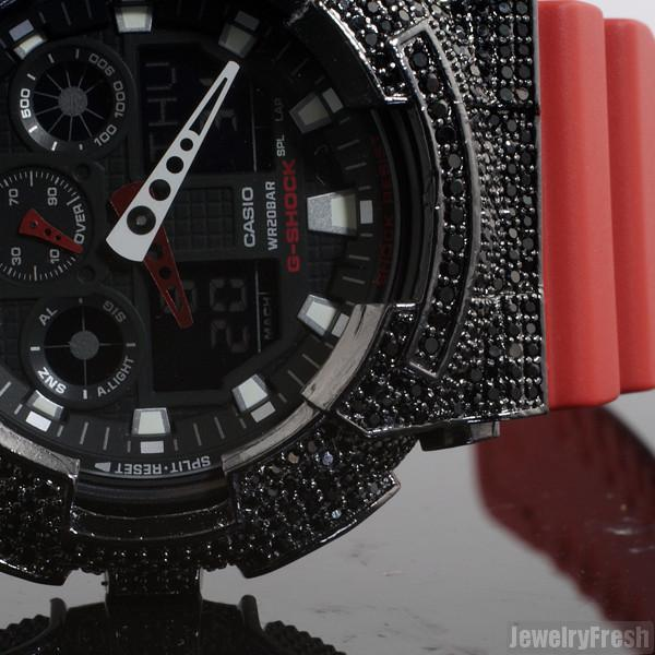 Black and Red Iced Out Bezel Casio G-Shock GA-100