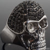 Black and White CZ Silver Finish Iced Out Skull Ring