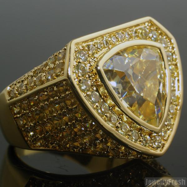 Canary Custom 8 Carat Trillion Cut Simulated Diamond Ring
