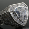 Rhodium Custom 8 Carat Trillion Cut Simulated Diamond Ring