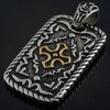 Intricate Two Tone Dogtag Oxidized Pendant Necklace Set