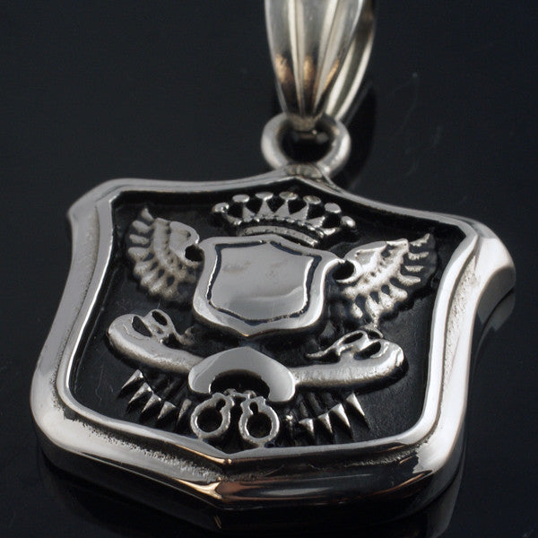 Oxidized Royal Shield Stainless Steel Necklace