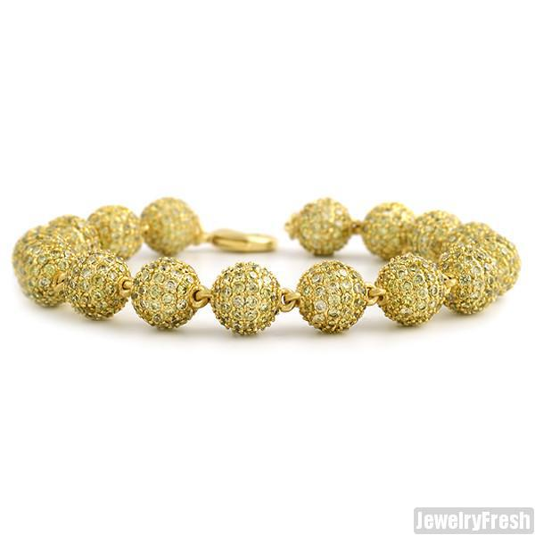 10.40 CTW 18k Gold Finish Canary CZ Bead Bracelet