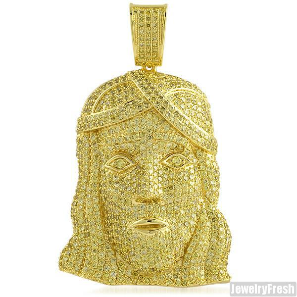 Canary Gold Finish Fully Iced Out Young Jesus Pendant