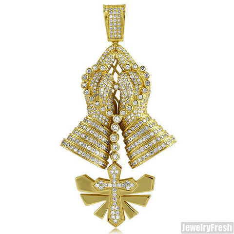 Gold 3D Praying Hands Pendant With Dangling Rosary