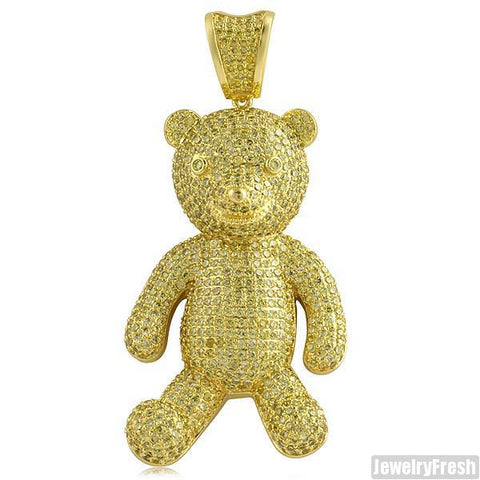 Canary Yellow Gold Iced Out Teddy Bear Pendant