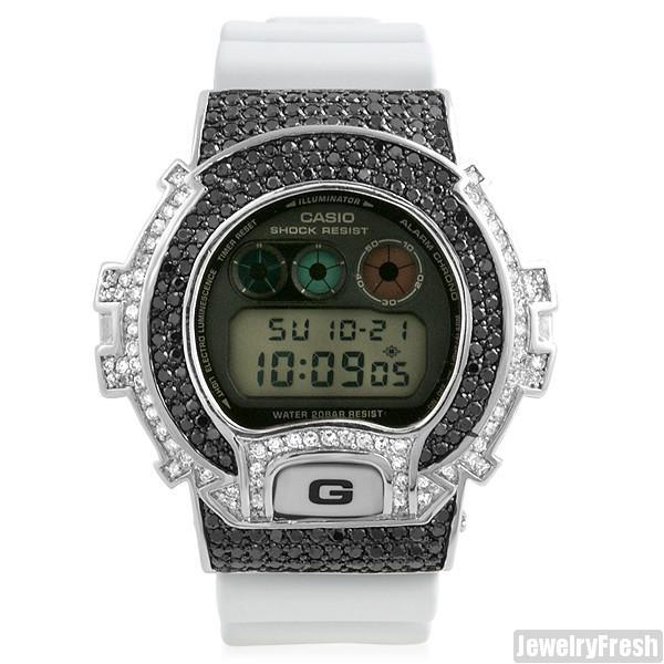 Black And White Custom CZ Bezel G-Shock DW-6900