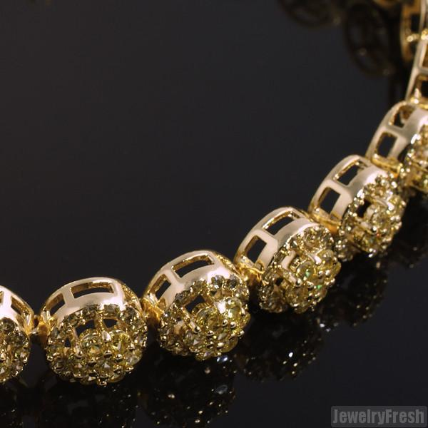 Gold Raised Cluster Canary Cubic Zirconia Bracelet