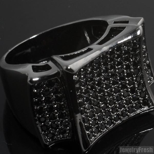 All Black Large Kite Micropave CZ Mens Ring