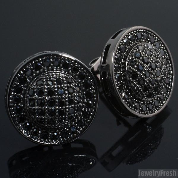 All Black Micropave Domed Circle CZ Mens Earrings
