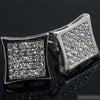 50 Stone Rhodium CZ Iced Out Kite Earrings