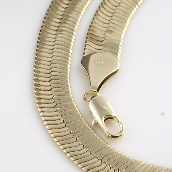 11mm Large Gold Plated Herringbone Chain