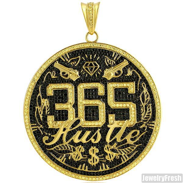 Custom Jumbo 365 Hustle Pendant Gold Finish