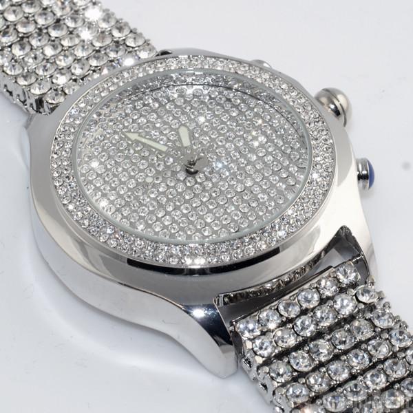 Rhodium Finish Iced Out Blizzard Mens Watch
