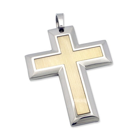 Contrast Finish Steel ARDEN Cross Pendant