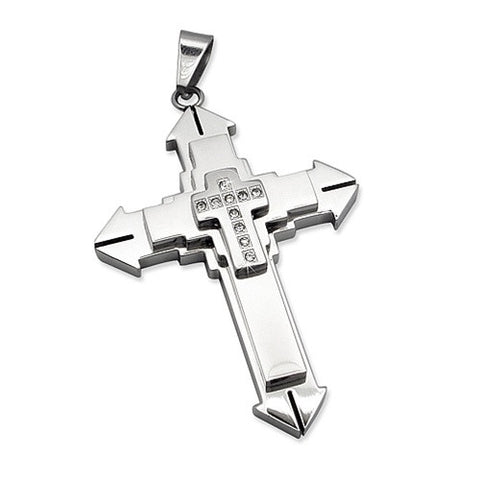 Stainless Steel Contemporary CZ Cross Pendant