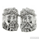 Rhodium Finish High End Detailed Jesus CZ Earrings
