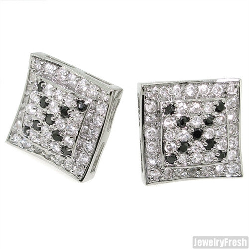 Raised Center Rhodium CZ Iced Earrings Black and White