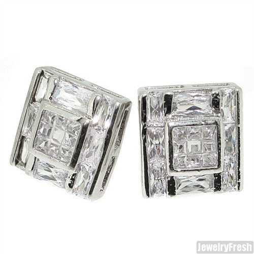 Rhodium Big Rocks Princess Cut Simulated Diamond Earrings
