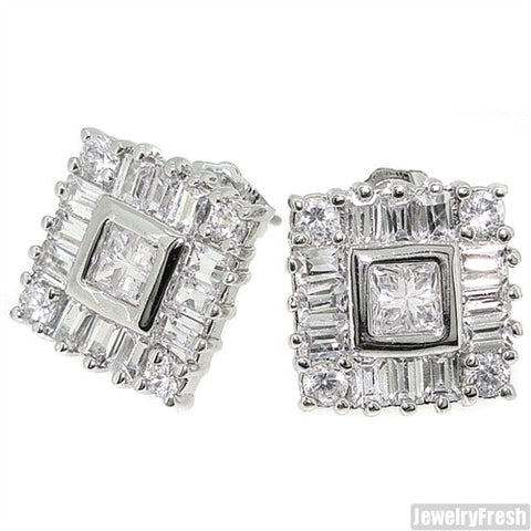 Fancy Baguette and Princess Cut Simulated Diamond Studs