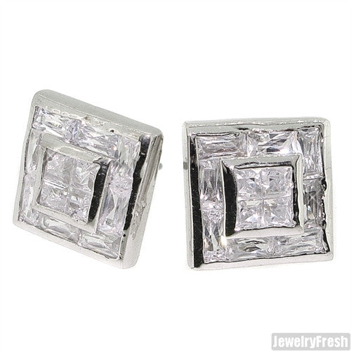 Invisible Set Princess Cut Simulated Diamond Square Earrings