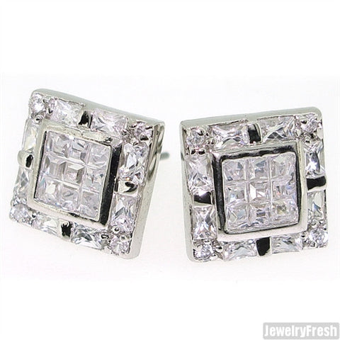 Fancy Invisible Set Tri Cut Simulated Diamond Square Studs