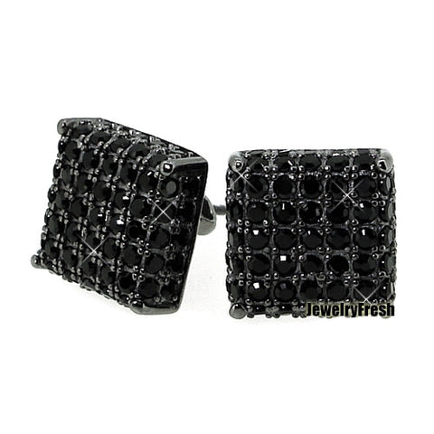 Blacked Out Large Cube Earrings With Lab Made Stones