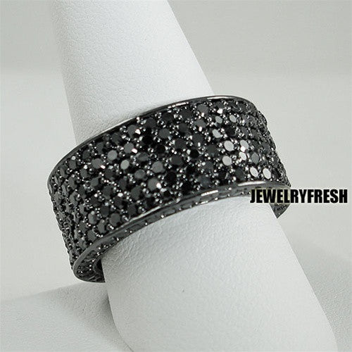 All Black 360 Degrees Fully Iced Out CZ Ring