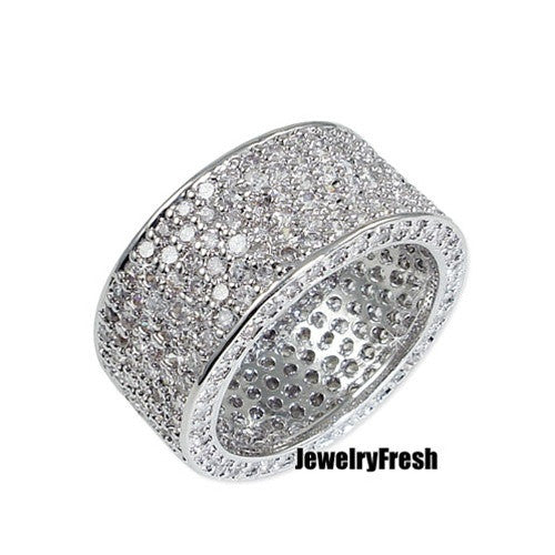 Sterling Silver Eternity Fully Iced Out CZ Ring