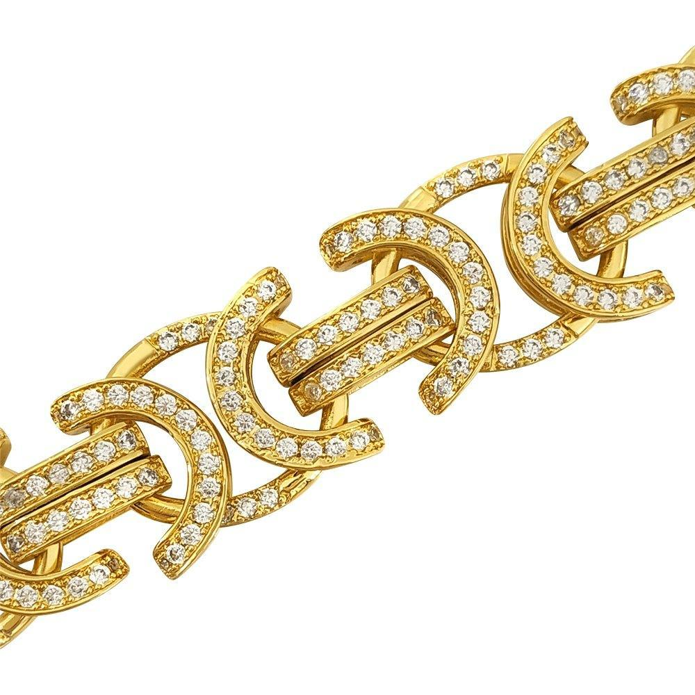 18K Gold Heavy Byzantine Iced Out Chain