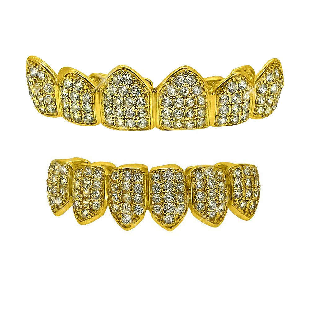 Gold Pave Fully Iced Out Teeth Grillz