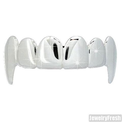 Silver Finish Shiny Polished Vampire Teeth Grill