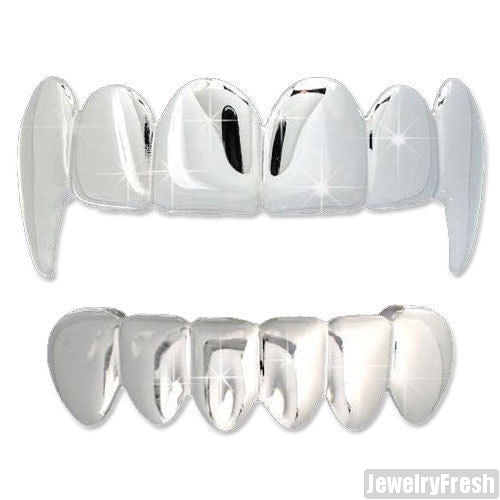Silver Finish Vampire Teeth Grillz Combo