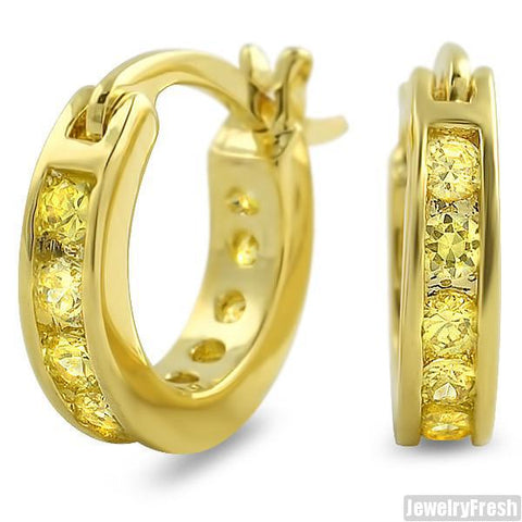 Canary Lemonade 1 Row Iced CZ Mini Hoop Earrings for Men