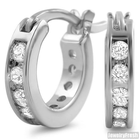 White Gold Finish 1 Row Iced CZ Mini Hoop Earrings for Men