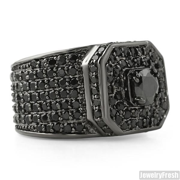 12.5 CTW Lab Simulated Diamond Supreme Ring Black
