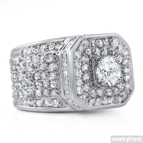 12.5 CTW Lab Simulated Diamond Supreme Ring Rhodium