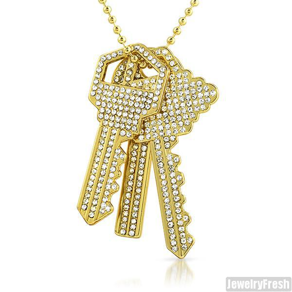 Gold Finish 3 Key Set Iced Out Pendant Bead Chain Set