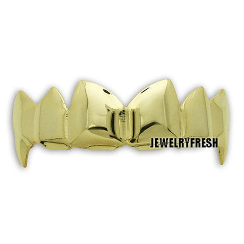 Gold Finish Fangs Style Universal Shiny Teeth Grill