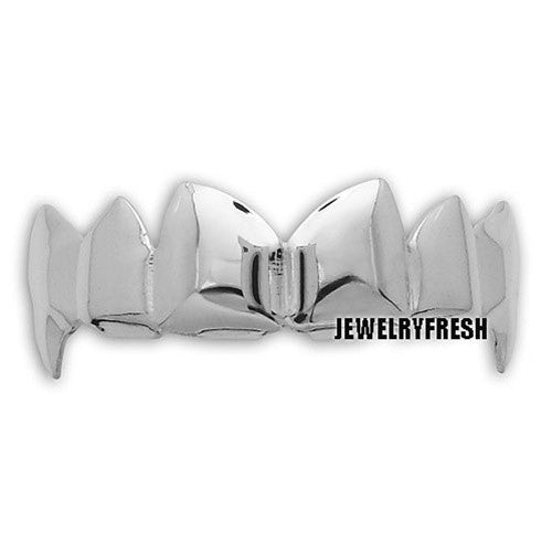 Platinum Finish Fangs Style Universal Shiny Teeth Grill