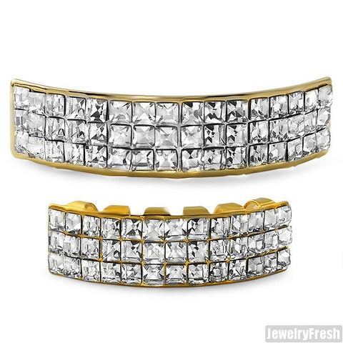 3 Row Princess Cut Gold Grill Combo
