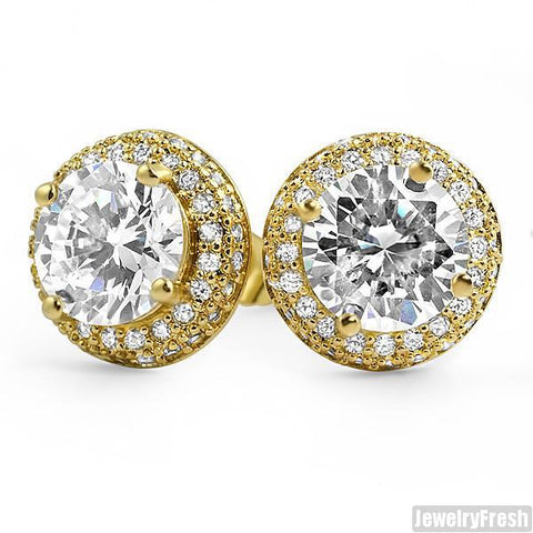 18k Finish Earrings With 2 Carat Center Stone