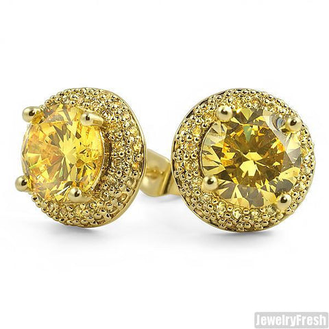 Gold Canary Earrings With 2 Carat Center Stone