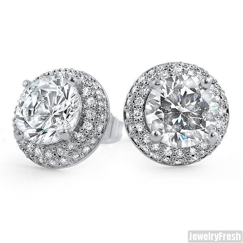 Platinum Tone Earrings With 2 Carat Center Stone