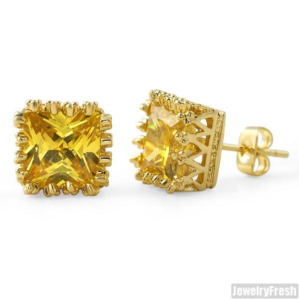 10mm Canary Princess Cut Crown Set Stud Earrings