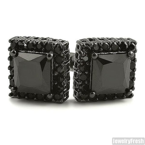 Black Finish 2 Carat Princess Cut CZ Studs