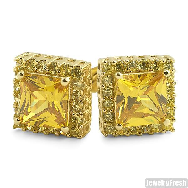 Canary Lemonade 2 Carat Princess Cut CZ Studs