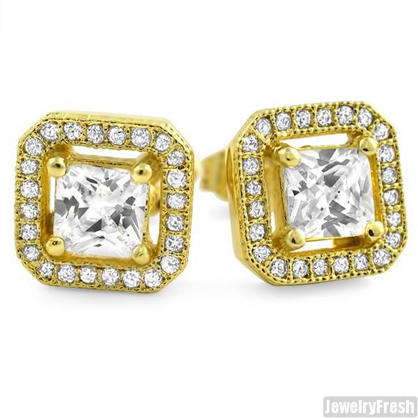 Gold Finish Simulated Diamond Floating Stone Earrings